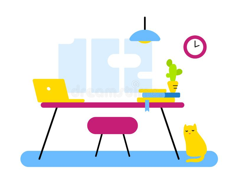 Mieszkanie stylu projekt abstrakcjonistyczna miejsce pracy, biurowy dział dla w zdjęcia stock