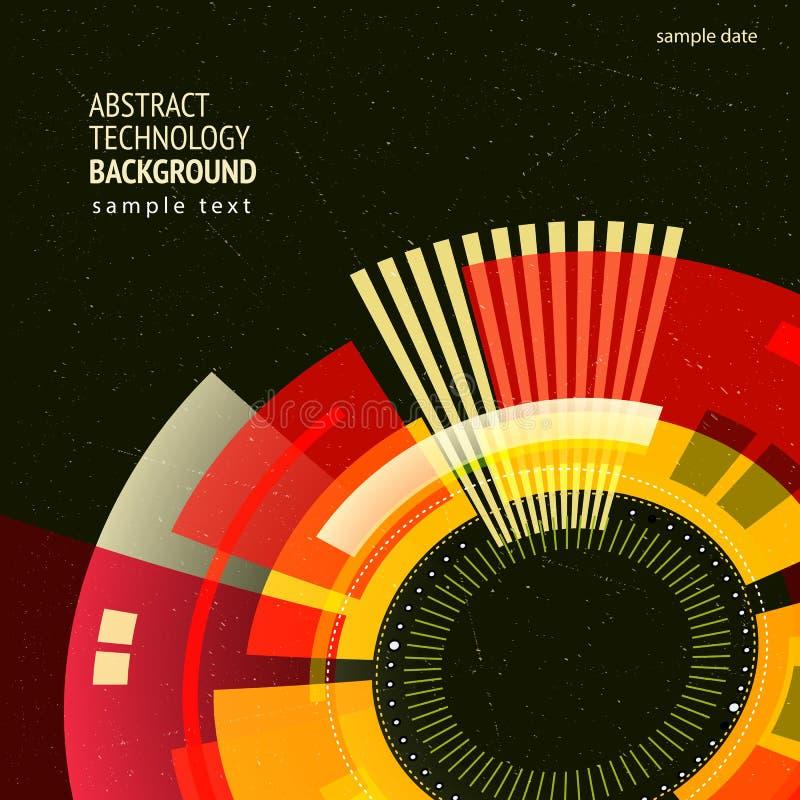 Mieszkanie technologii stylowy abstrakcjonistyczny retro kąt ilustracja wektor