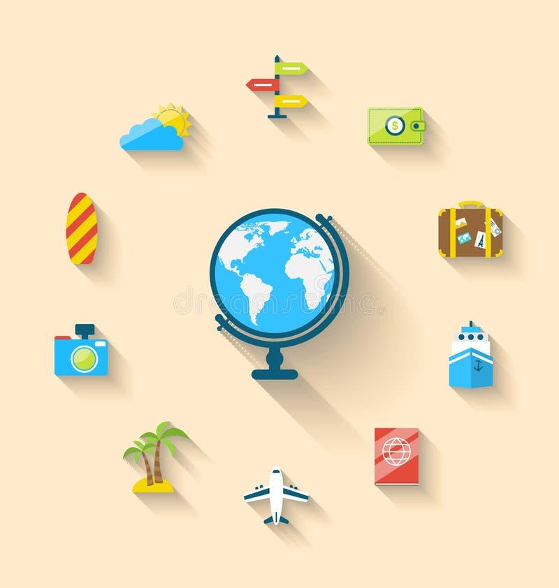 Mieszkanie ustalone ikony kula ziemska i podróż być na wakacjach, prosty styl ilustracja wektor