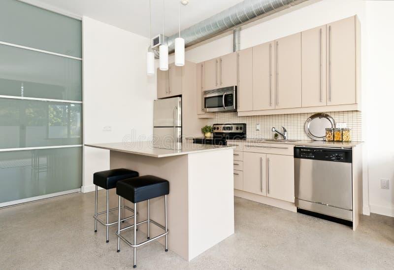 Mieszkanie własnościowe nowożytna kuchnia fotografia stock