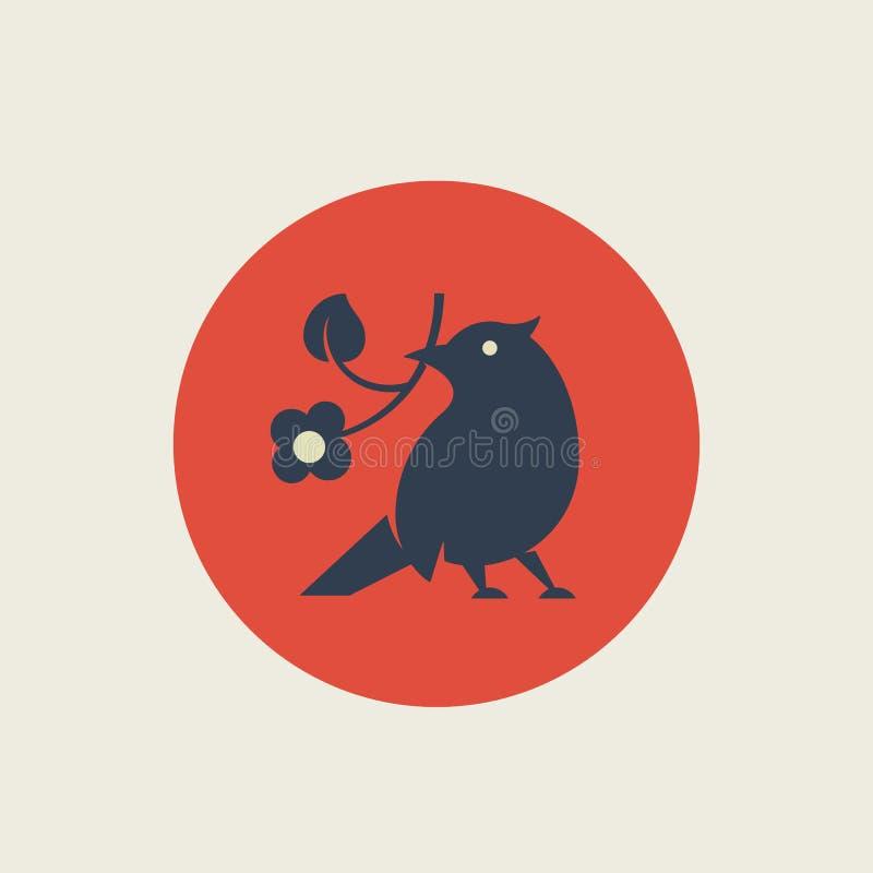 Mieszkanie wektoru Stylowy Abstrakcjonistyczny znak, symbol lub loga szablon, Minimalizmu ptak trzyma kwiat sylwetkę ilość premii ilustracja wektor