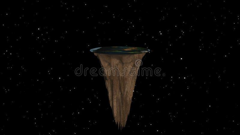Mieszkanie ziemia z natura krajobrazem, antyczna wiara w płaskiej kuli ziemskiej w formie dysk, 3d rendering ilustracji