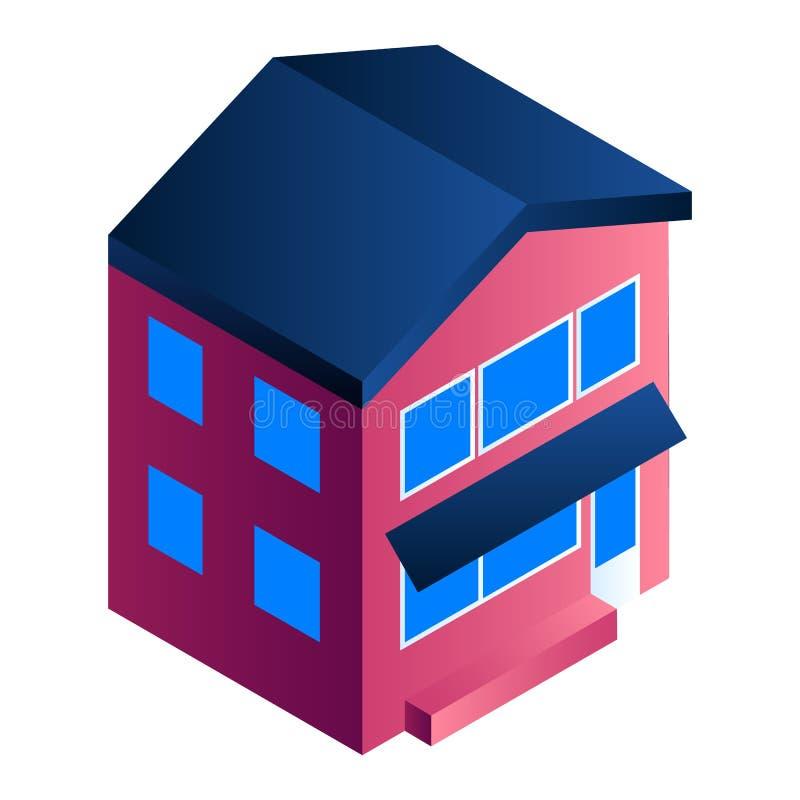 Mieszkaniowa domowa ikona, isometric styl ilustracji