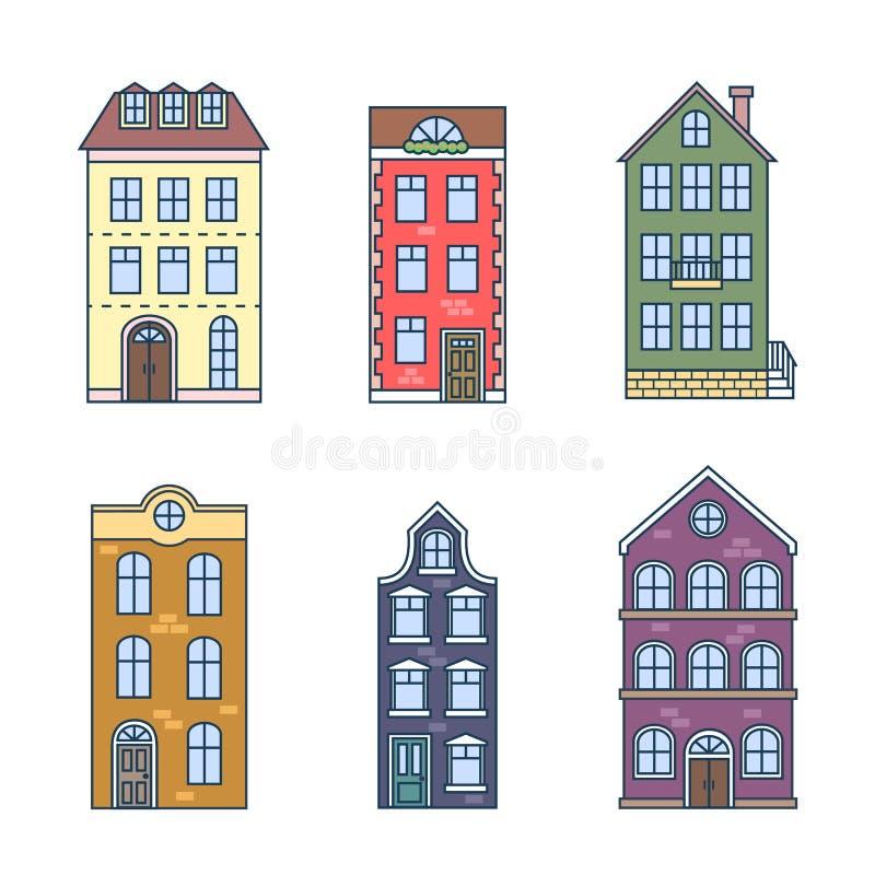 Mieszkaniowe dom ikony w wykazywać tendencję mieszkanie styl z liniami Wektorowy ustawiający domy w holendera stylu ilustracja wektor