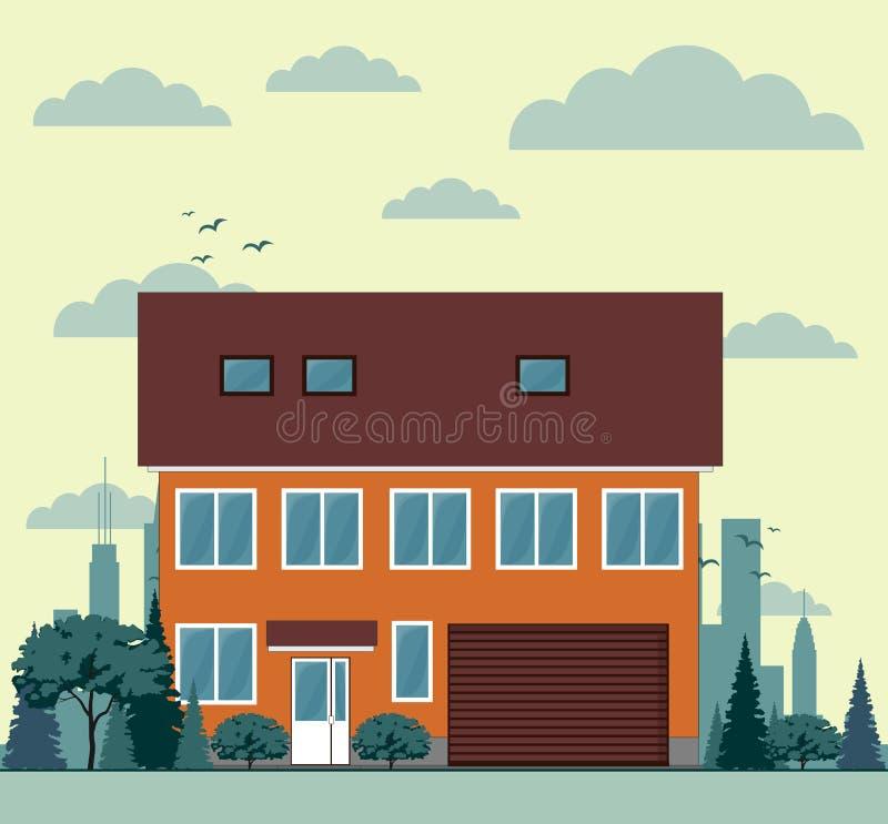 Mieszkaniowe dom miejski architektury ikony wektorowe royalty ilustracja