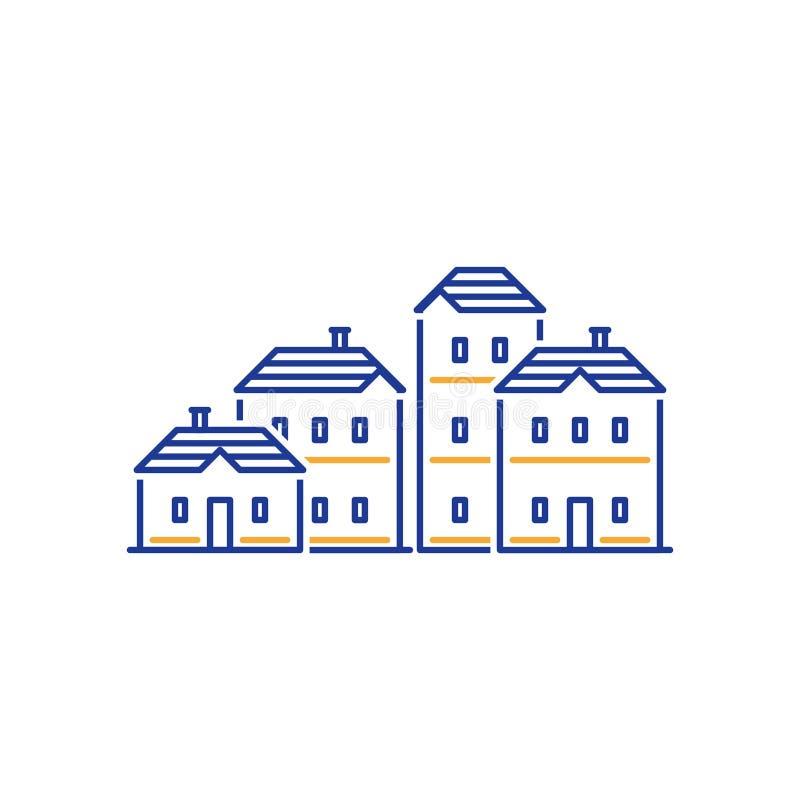 Mieszkaniowego okręgu pojęcie, nieruchomość rozwój, budynek mieszkaniowy royalty ilustracja