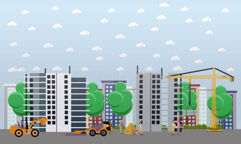 Mieszkaniowej budowy pojęcia wektorowa ilustracja w mieszkanie stylu ilustracja wektor