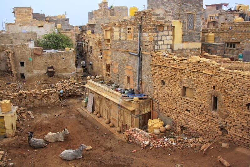 Mieszkaniowi domy w Jaisalmer forcie, India zdjęcia royalty free