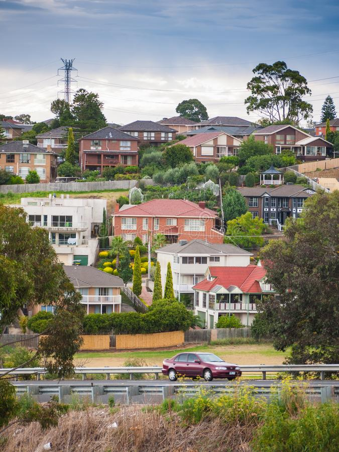 Mieszkaniowi domy w Melbourne ` s przedmieściu Moonee dolina, VIC Australia obraz royalty free