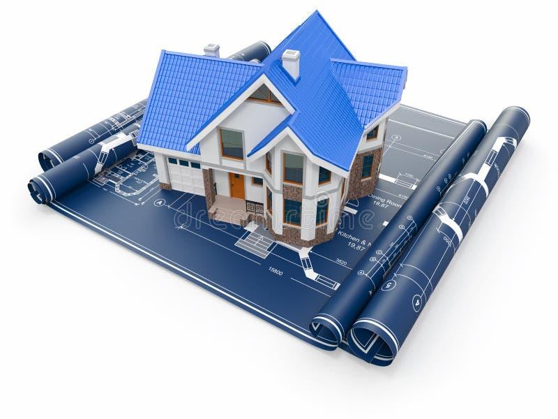 Mieszkaniowy dom na architektów projektach. Projekt budowy mieszkań. royalty ilustracja