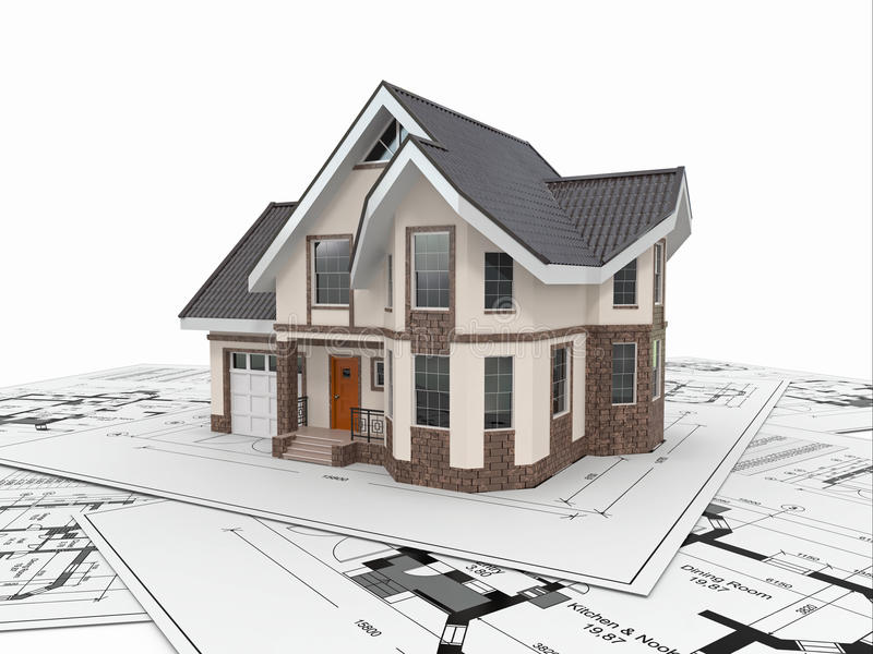 Mieszkaniowy dom na architektów projektach. Projekt budowy mieszkań. ilustracji