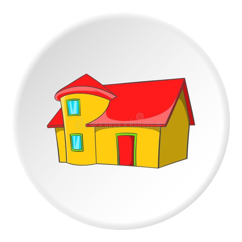 Mieszkaniowy dom z dachową ikoną, kreskówka styl ilustracji