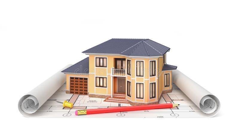 Mieszkaniowy dom z narzędziami ilustracja wektor