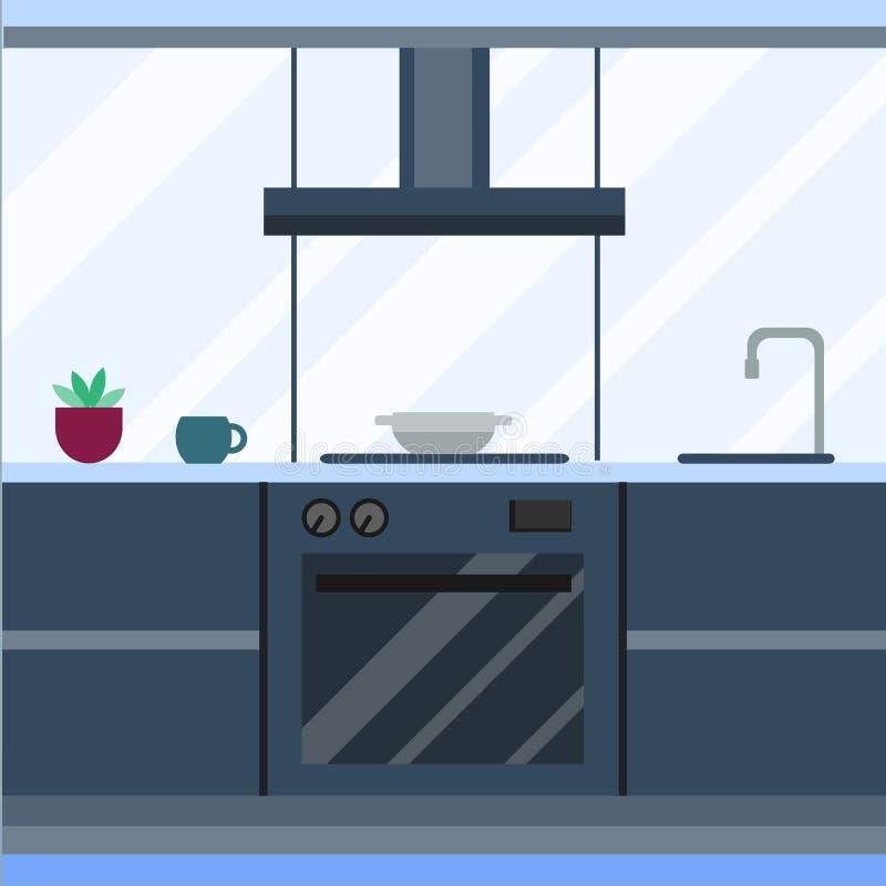 Mieszkaniowy wnętrze nowożytna kuchnia w luksusowym dworze Domowej architektury nowa nowożytna meblarska wektorowa ilustracja ilustracji