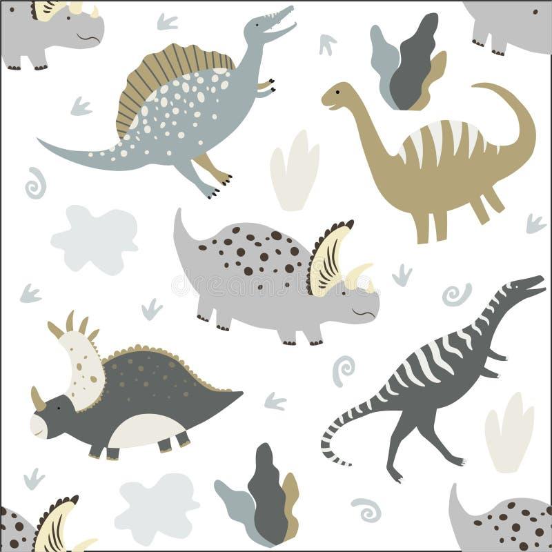 ?mieszni dinosaury dzieciaki deseniuj? bezszwowego royalty ilustracja