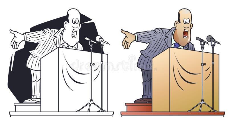 ?mieszni mali m??czyzna Polityk krzyczy w mikrofony Biznesmen na podium ilustracja wektor