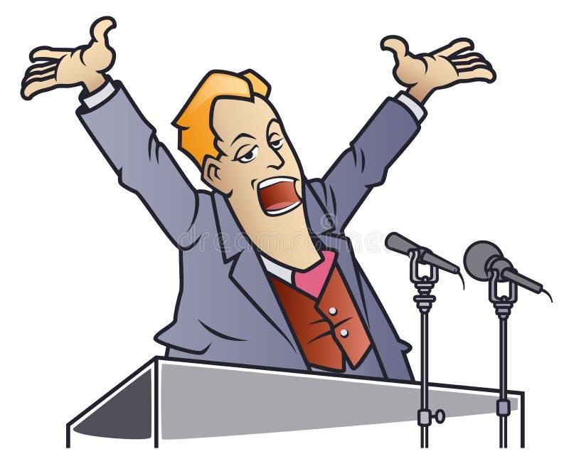 ?mieszni mali m??czyzna Polityk krzyczy w mikrofony Biznesmen na podium ilustracji