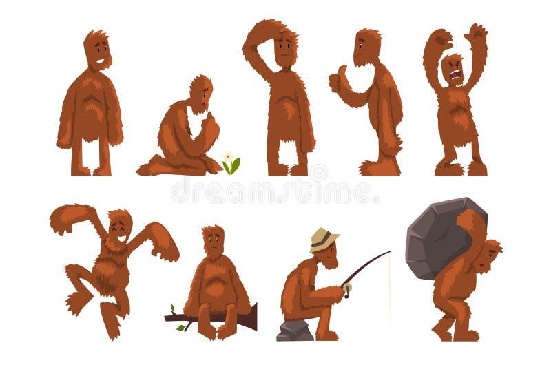?mieszny Bigfoot posta? z kresk?wki - set, mityczna istota w r??nych sytuacj wektorowych ilustracjach na bielu royalty ilustracja