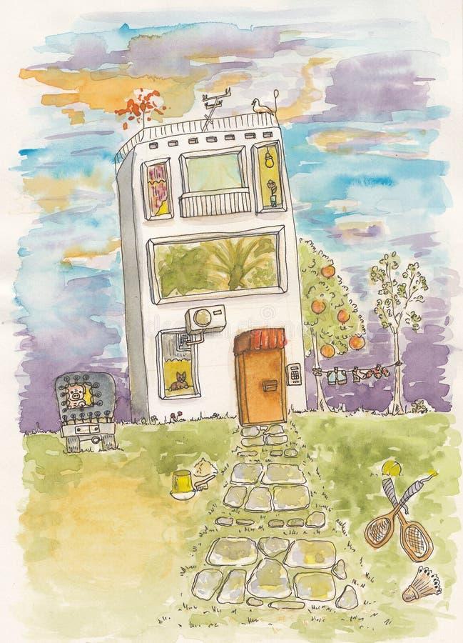 Download Śmieszny dom ilustracji. Obraz złożonej z drzwi, świnia - 33036624