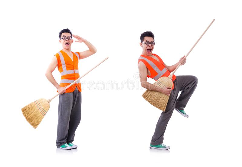 ?mieszny janitor odizolowywaj?cy na bielu obrazy royalty free