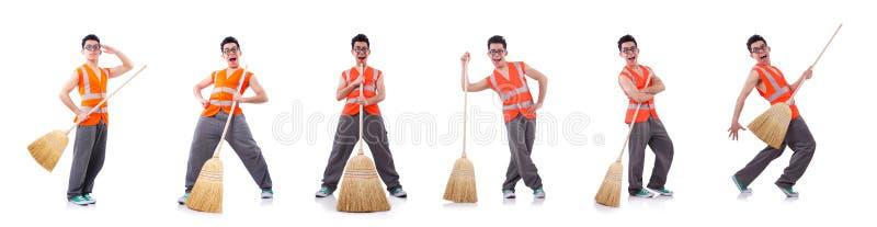 ?mieszny janitor odizolowywaj?cy na bielu obraz royalty free