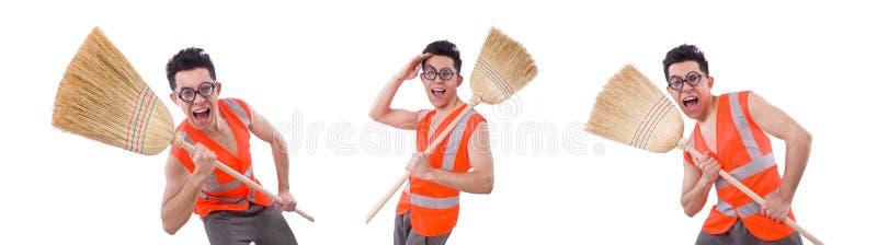 ?mieszny janitor odizolowywaj?cy na bielu fotografia royalty free