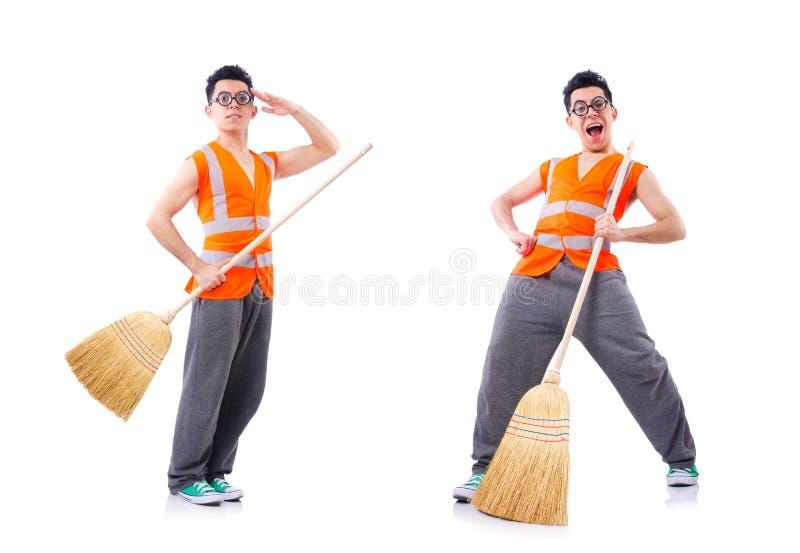 ?mieszny janitor odizolowywaj?cy na bielu zdjęcia stock