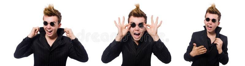 ?mieszny m??czyzna jest ubranym okulary przeciws?onecznych odizolowywaj?cych na bielu fotografia stock