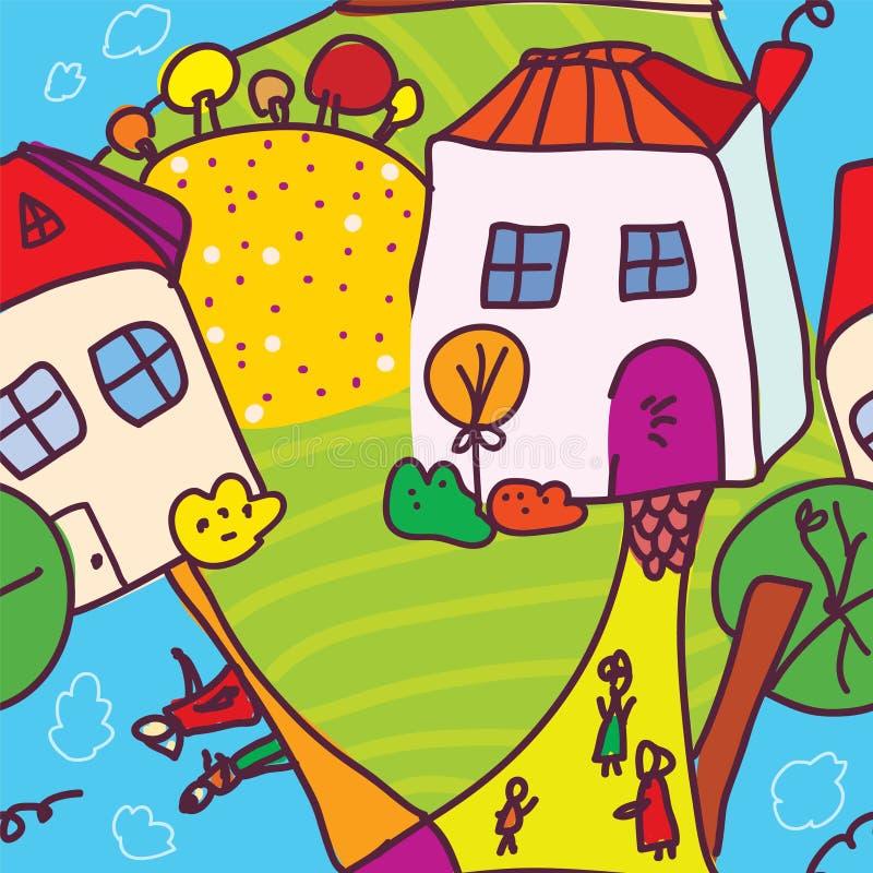 Download Śmieszny Miasteczko I Ludzie Bezszwowego Wzoru Ilustracja Wektor - Ilustracja złożonej z ratunek, city: 28970109