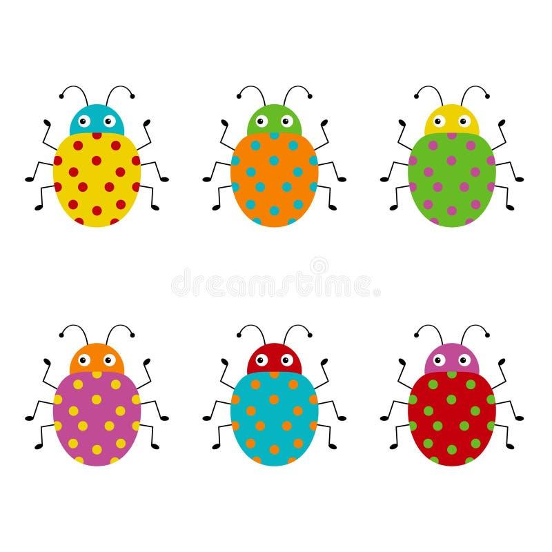 ?mieszny pluskwa set Inkasowi szcz??liwi kresk?wka insekty ilustracja kolorowa ilustracji