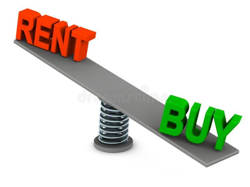Miete oder Kauf lizenzfreie abbildung