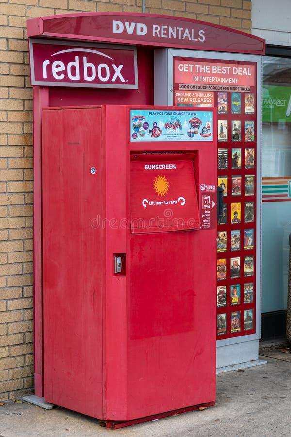 Miete Redbox DVD lizenzfreie stockfotografie
