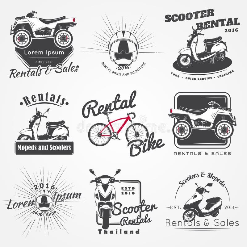 Miete, Verkauf und Reparatur - Fahrräder, Mopeds und Roller Radfahrender Verein Ausführliche Elemente Alter Retro- Weinleseschmut stock abbildung