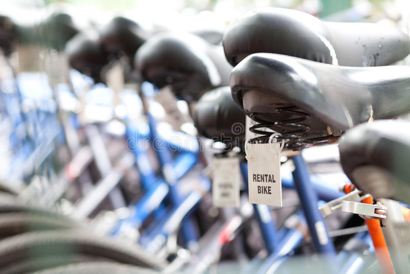 Mietfahrräder stockbild