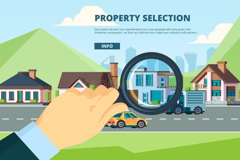 Miethaus Suche nach einem neuen, modernen Wohnungsbaumarkt Hypothekengesellschaft Vektor-Konzept stock abbildung