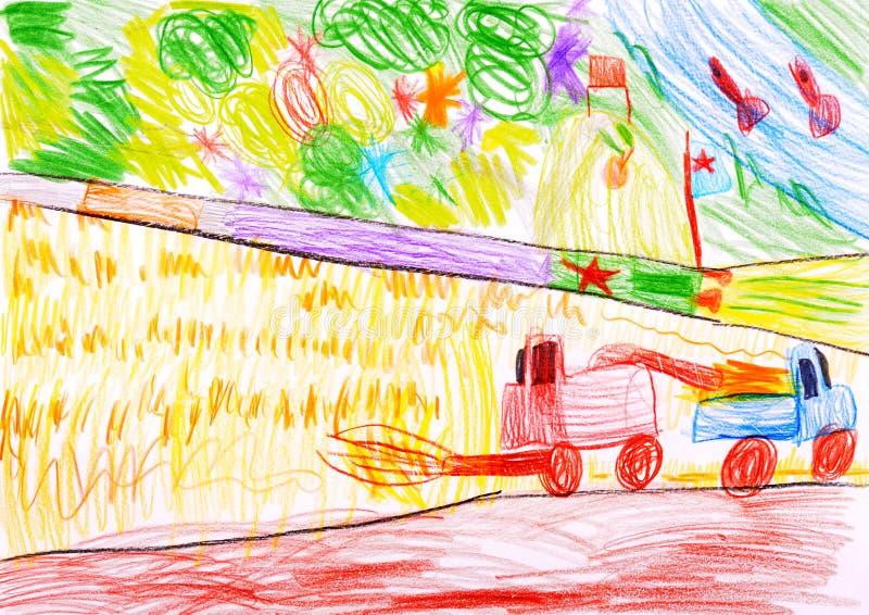 Mietitrebbiatura un frumento e un razzo di spazio. royalty illustrazione gratis