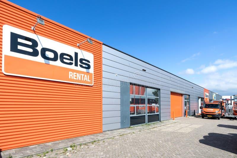 Mietspeicher Boels in Leiderdorp, die Niederlande stockbild