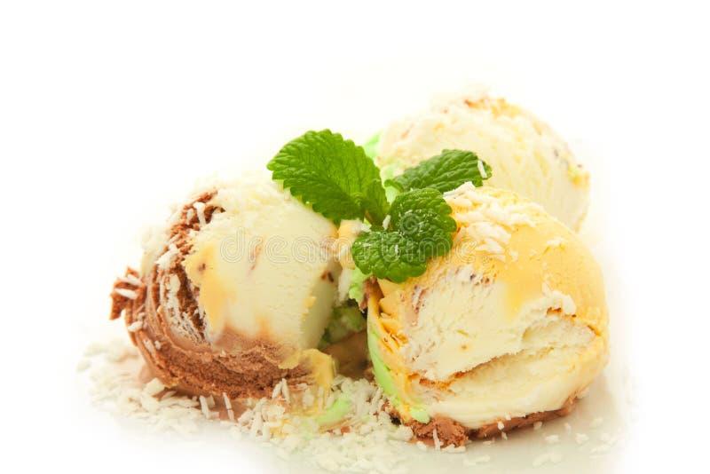 Miette de noix de coco de witn de crême glacée de fruit photographie stock