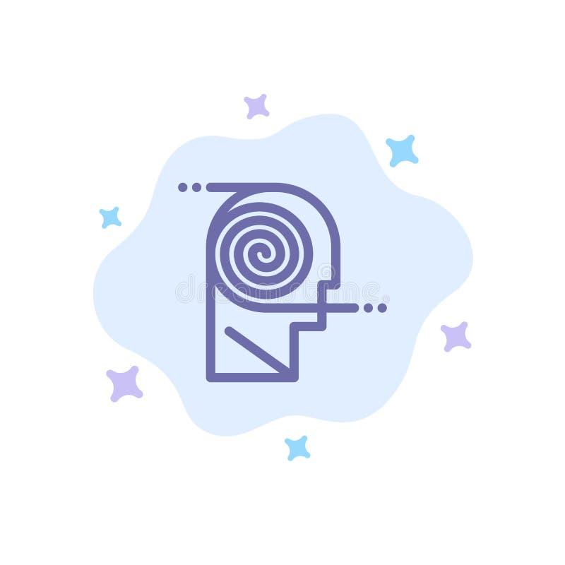 Mieux, compréhension, définition, apprenant, icône bleue d'étude sur le fond abstrait de nuage illustration libre de droits