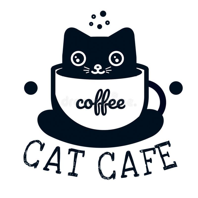 Miezekatze, die in einem Tasse Kaffee sitzt stock abbildung