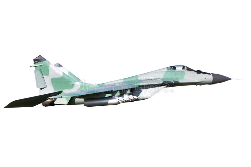 Download Mig-29 on white stock image. Image of green, speed, flying - 18944761