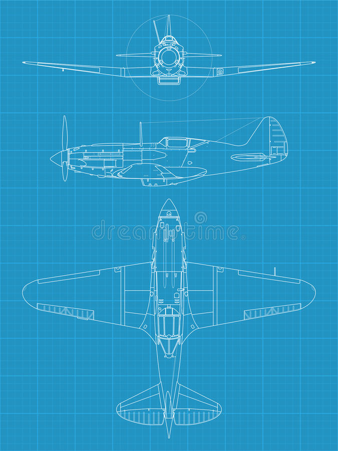 Mig 3 aiplane stock vector illustration of fast delivery 28603534 high detailed vector illustration of old military airplane on blueprint paper top side and front view malvernweather Choice Image