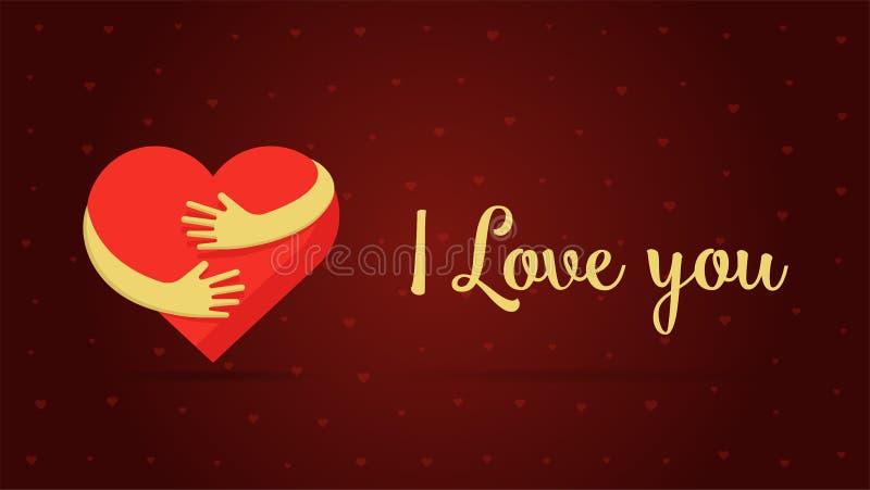 mig bokstäverförälskelse dig valentin för saint för bakgrundshjärtaillustration röd Illustration för vektor för design för kort f vektor illustrationer