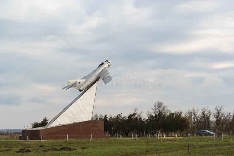 MiG-17, establecido en honor de soldados, aviadores, miembros de la liberación de la península de Taman en las batallas contra el imagen de archivo libre de regalías