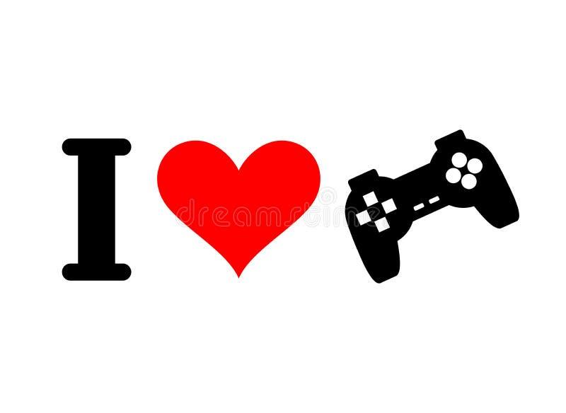 Mig förälskelselekar Hjärta och gamepad Logo för spelare i konsol royaltyfri illustrationer