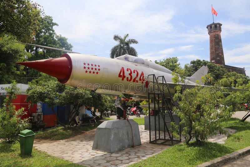Mig 21 fighter jet. The MIG-21 N. 4324 of the Vietnam People's Air Force responsible for shooting down 14 US aircraft during the Vietnam War. Photo taken at stock photography