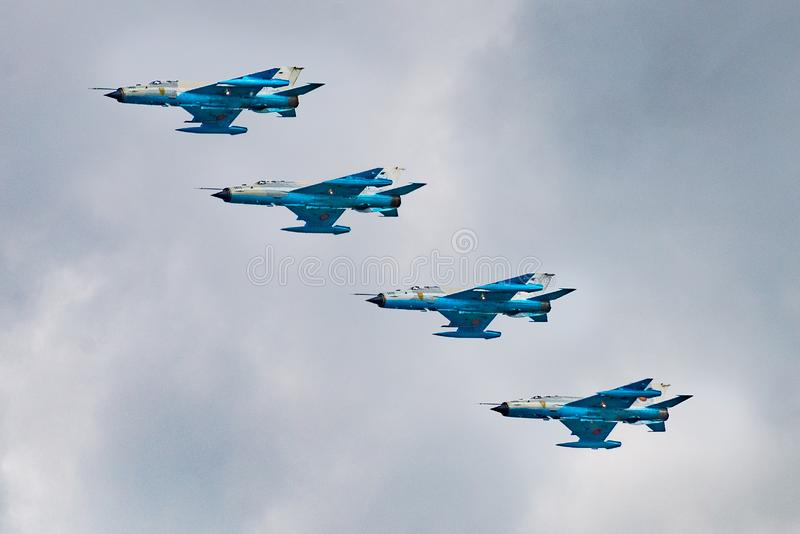 4 mig formation airshow. 4 mig formation. Airplane, aircraft, jet, fighter, symmetry, blue, sky, airshow, nikon, d610, tamron, 70-300, constanta royalty free stock photos