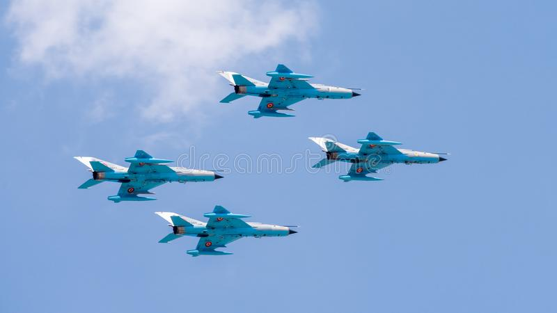 MiG-21 Lancer air force team formation. fighter jet plane royalty free stock photography