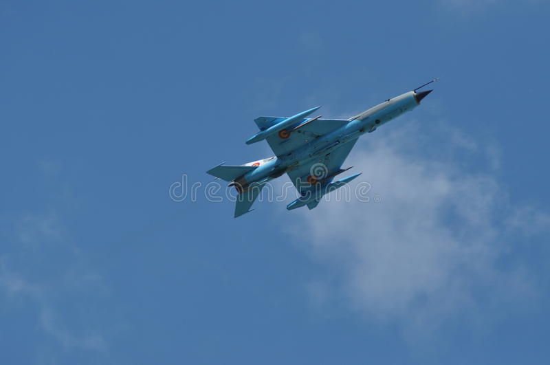 MIG 21 LANCER fighter plane performs a demonstration flight on the Romanian Air Fest