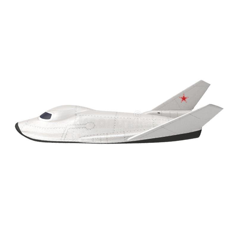 MiG-105 Lapot spaceplane. 3D rendering of MiG-105 Lapot spaceplane. Isolated on white background stock illustration